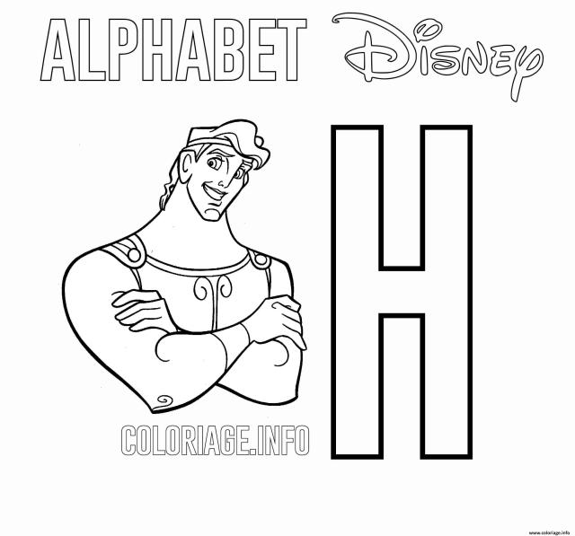 Coloriage Lettre H Pour Hercules Dessin Alphabet Disney à imprimer