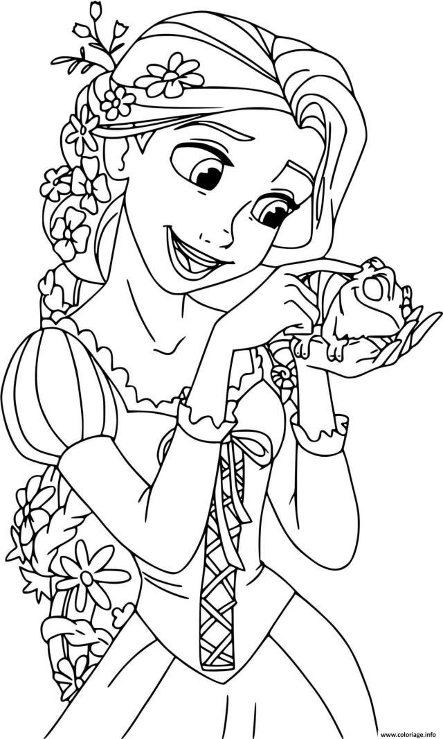 Coloriage Raiponce Est Une Princesse Fille Unique Du Roi Et De La