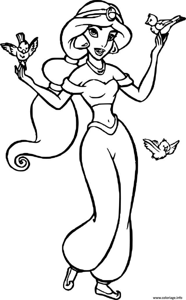 Coloriage jasmin femme courageuse et independante dans univers de