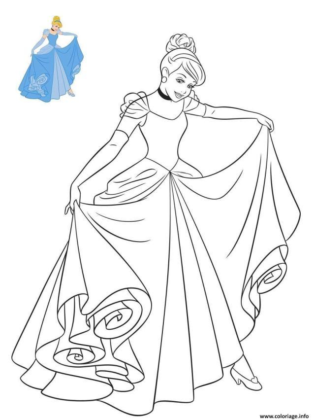 Coloriage Princesse Disney Cendrillon en robe - JeColorie.com