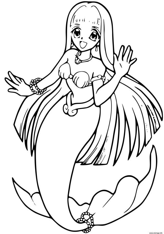 Coloriage Princesse Sirene Manga Anime Dessin Barbie Sirene à imprimer