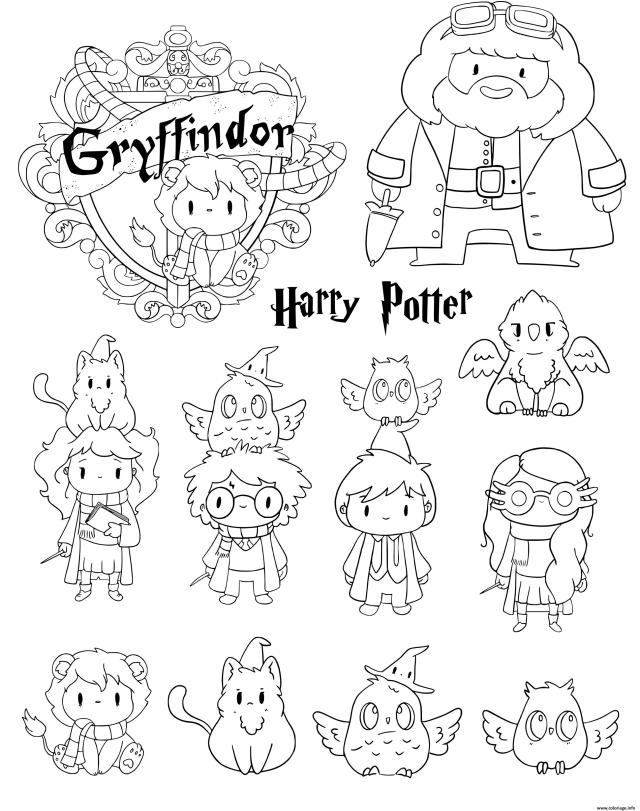 Coloriage Harry Potter Gryffindor Personnages Kawaii Dessin Harry