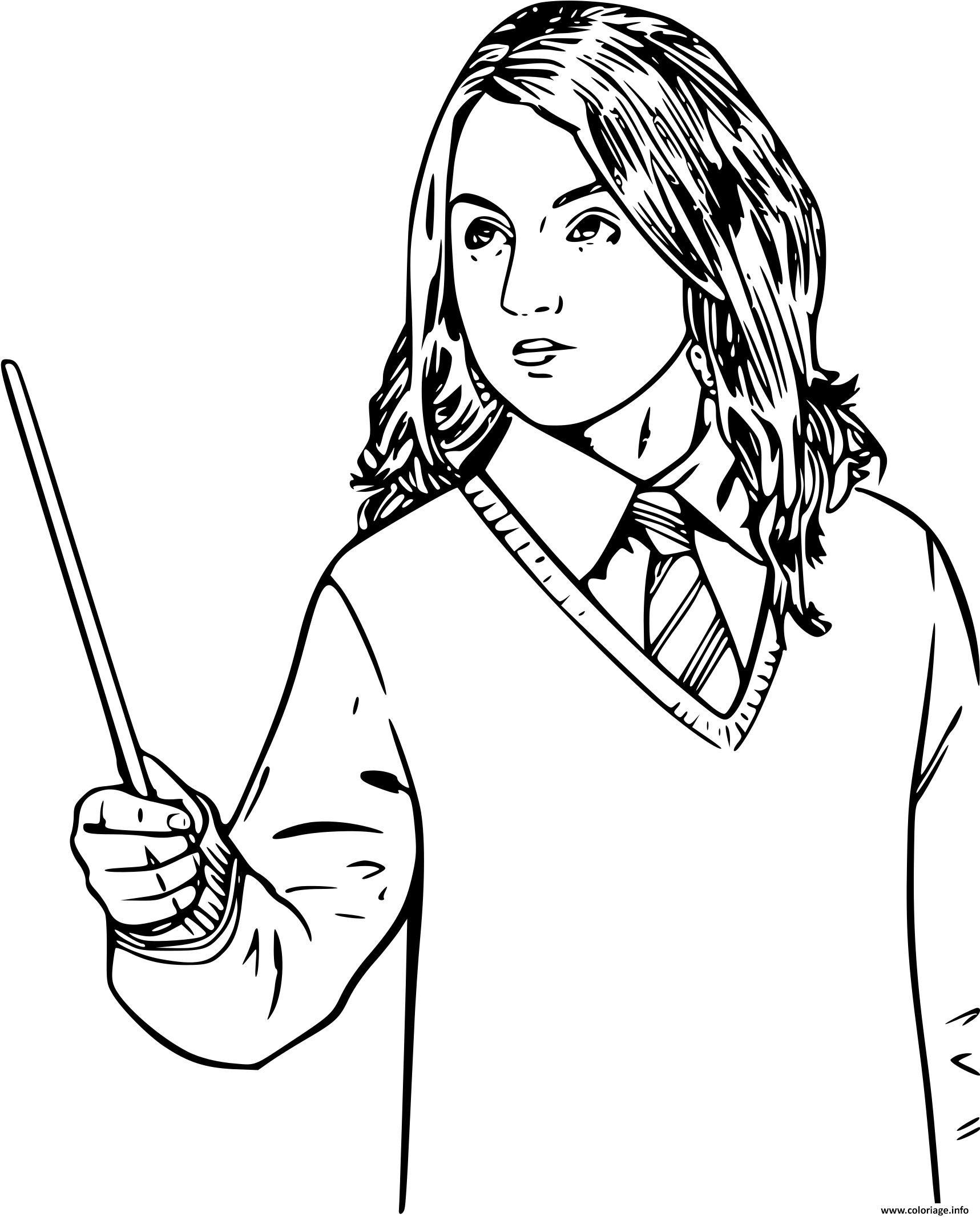 Coloriage Hermione Granger Patronus En Forme De Loutre
