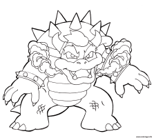 Coloriage Bowser Pret Au Combat Contre Mario Bros By ...