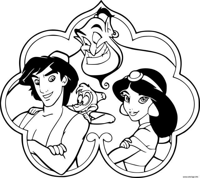 Coloriage Aladdin Jasmine Genie Abu Dessin Jasmine à imprimer