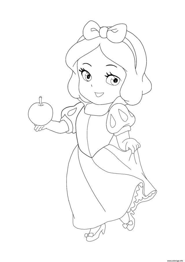 Coloriage Kawaii Disney Princesse Snow White Dessin Princesse à