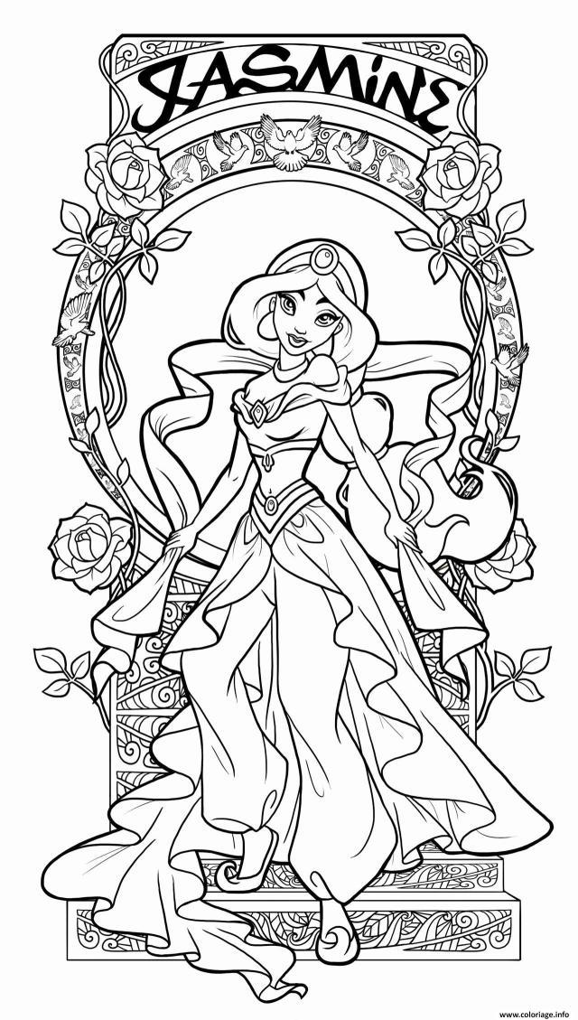 Coloriage jasmine aladin princesse disney adulte - JeColorie.com