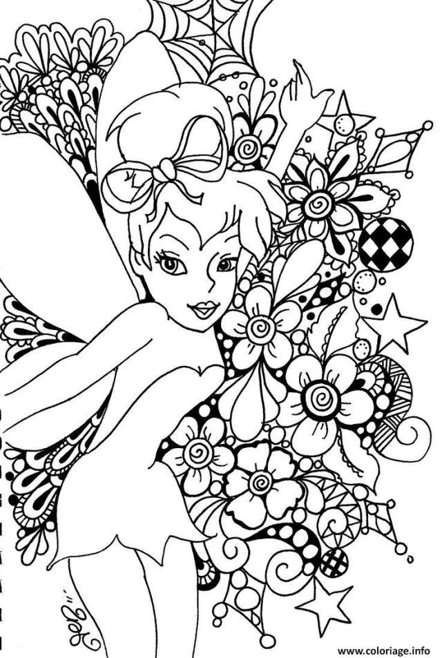 Coloriage princesse ariel la fee disney adulte - JeColorie.com