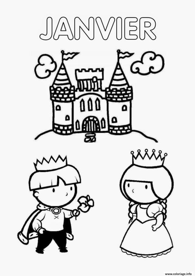 Coloriage Janvier Chateau Prince Et Princesse Dessin Janvier à