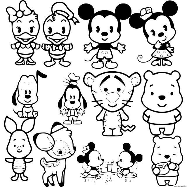 Coloriage Disney Cuties Kawaii - JeColorie.com