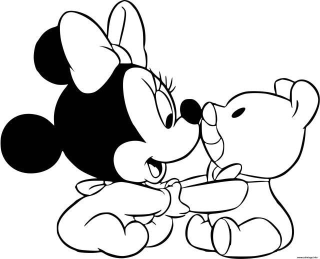 Coloriage Minnie Mouse Bebe Et Son Nounours Dessin Disney Bebe à