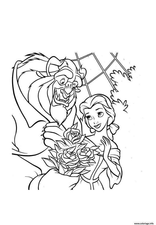 Coloriage Bouquet De Roses La Belle Et La Bete Disney Dessin La