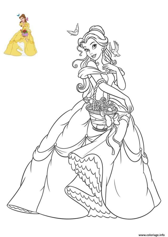 Coloriage princesse la belle et la bete - JeColorie.com
