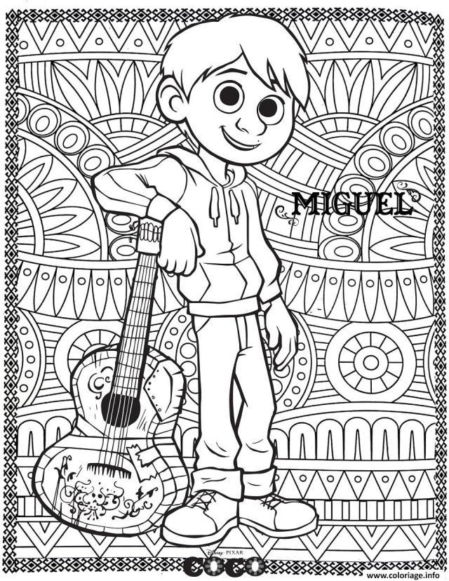 Coloriage Coco Miguel Avec Fond Mandala Adulte Dessin Mandala