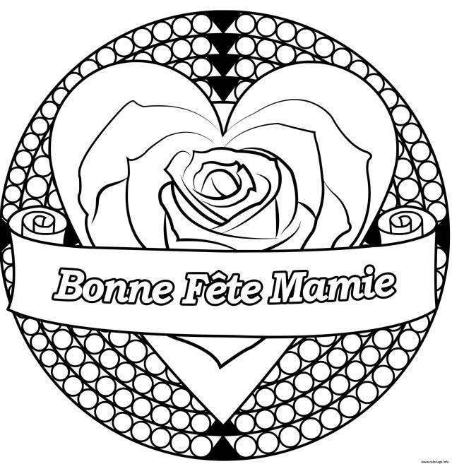 Coloriage Bonne Fete Mamie Mandala Coeur Dessin Fete Des Grands
