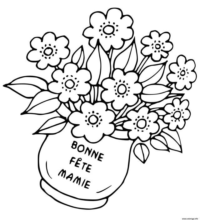 Coloriage Fete Des Mamies Pot De Fleurs Dessin Fete Des Grands