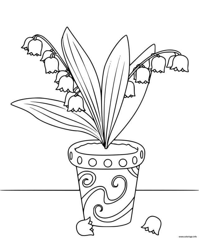 Coloriage Pot De Fleurs De Muguet 122er Mai Dessin Muguet 122er Mai à