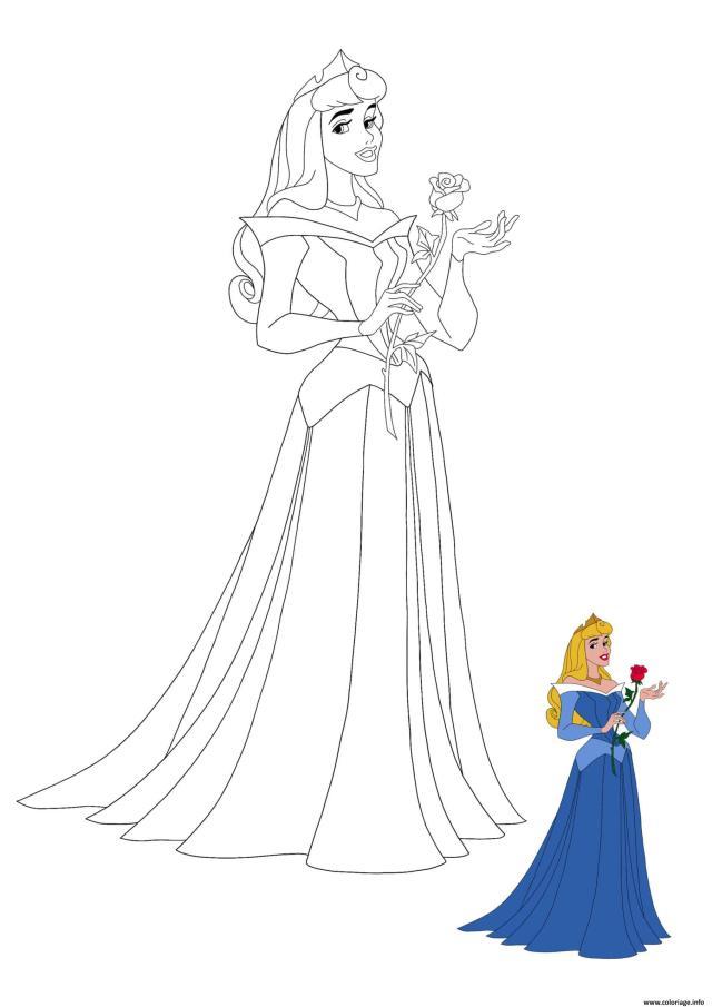 Coloriage Princesse La Belle Au Bois Dormant Disney De Dessin La