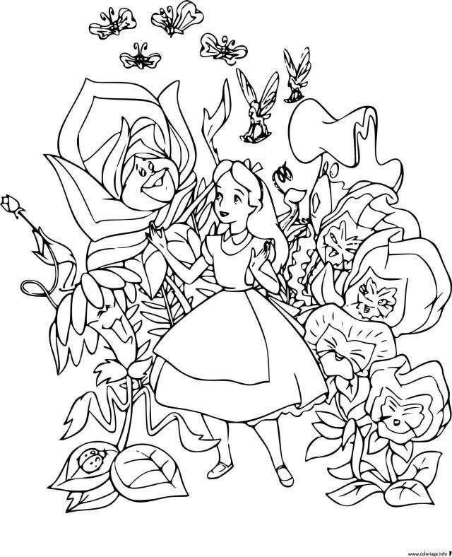 Coloriage Alice Rencontre Des Fleurs Qui Savent Parler Dessin