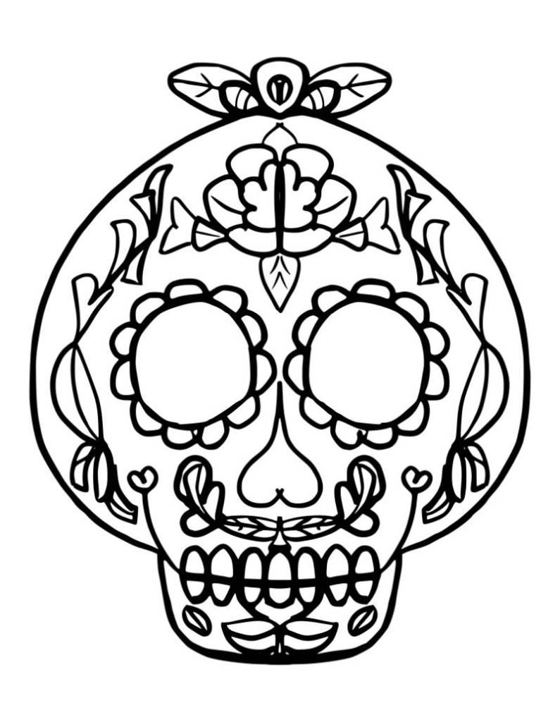Free Catrina Coloring Page for Halloween | Colorinchi