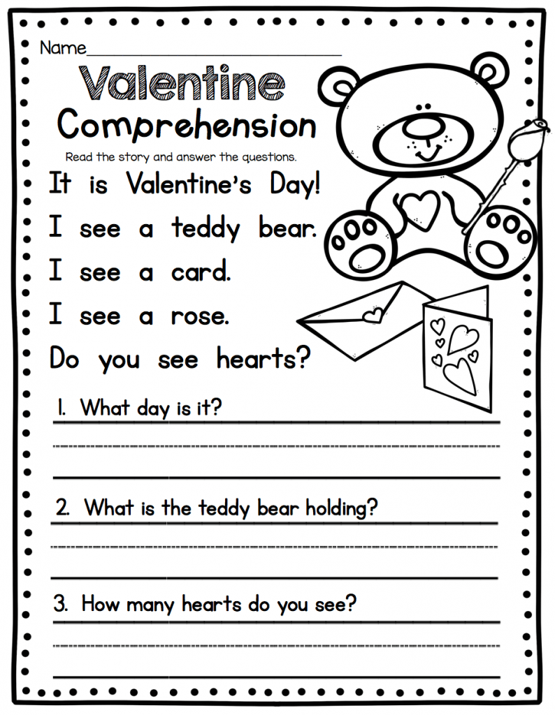 hight resolution of 1st Grade English Worksheets Valentine - Free Coloring Library
