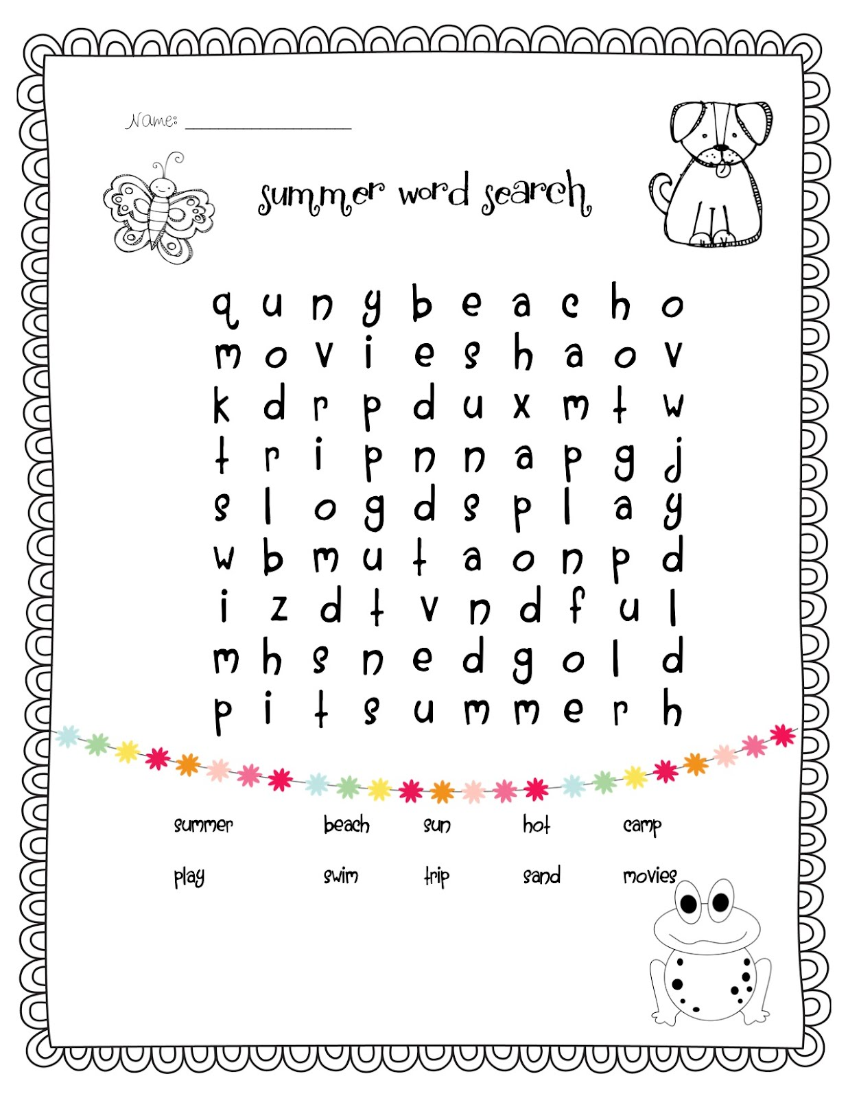 Spring Third Grade Word Search