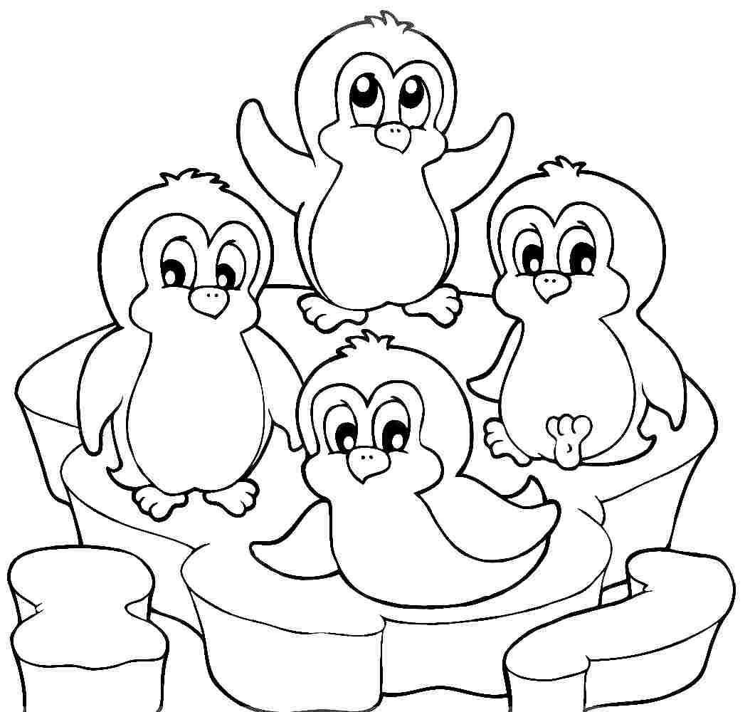 Penguin Couple In Love Coloring Page