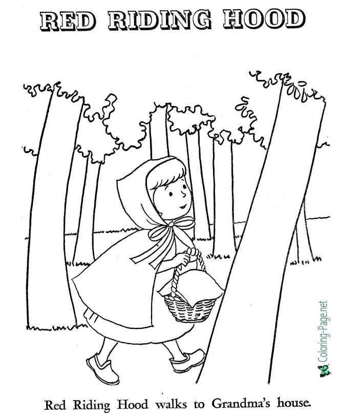 Little Red Riding Hood Coloring Page : little, riding, coloring, Fairy, Tales, Little, Riding, Coloring, Pages