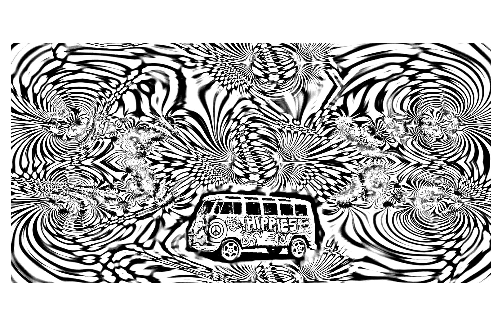 Hippie Coloring Book | Awesome Psychedelic Hippie Coloring Pages ...