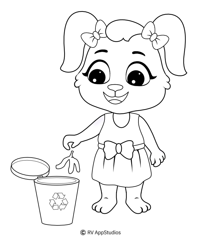 Cleaning coloring pages for kids