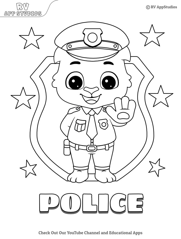 Police coloring pages for kids