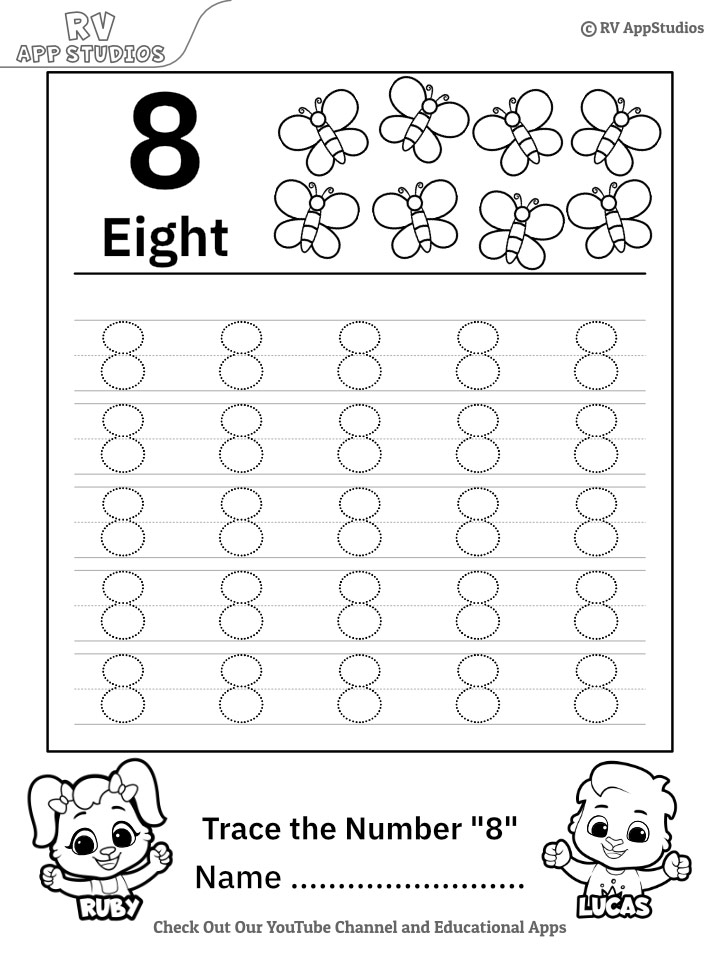 Trace Number '8' Worksheet for FREE for Kids