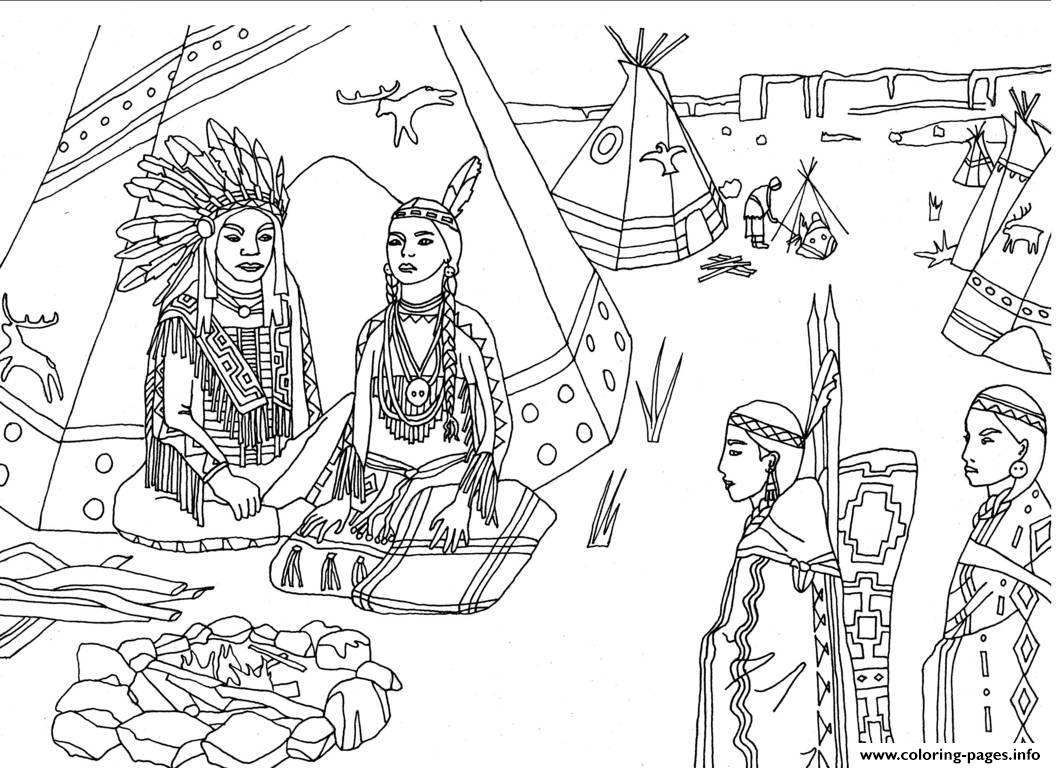 Adult Native Americans Indians Sat Front Of Tipi By Marion