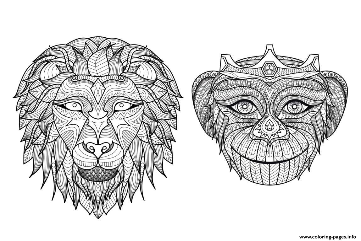 Adult Africa Heads Monkey Lion Coloring Pages Printable