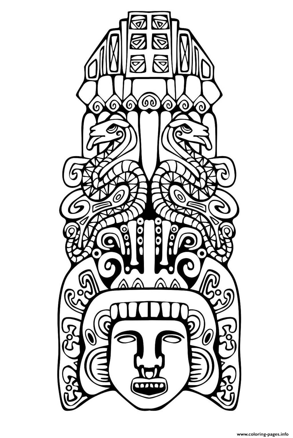 Aztec Adult Coloring Page Free Coloring Page Coloring Adult Totem