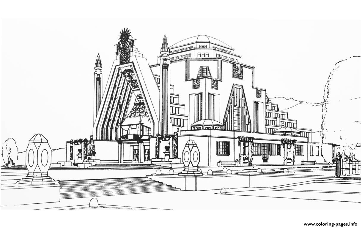 Adult Drawing Monument Art Deco France 1925 Coloring Pages