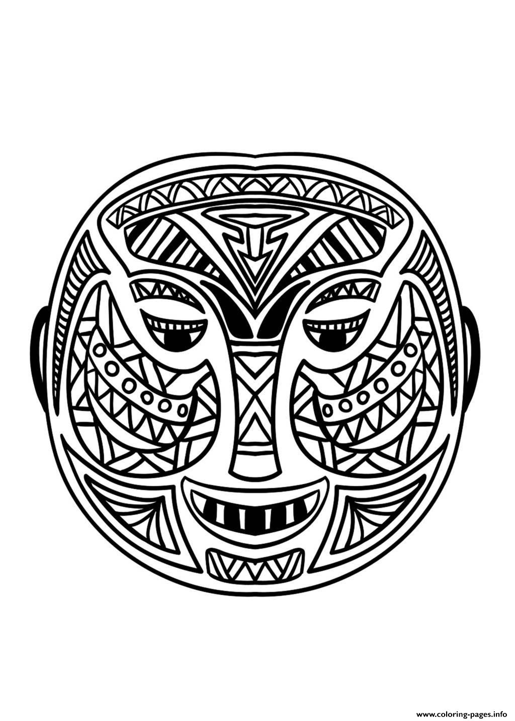 Adult African Mask 5 Coloring Pages Printable