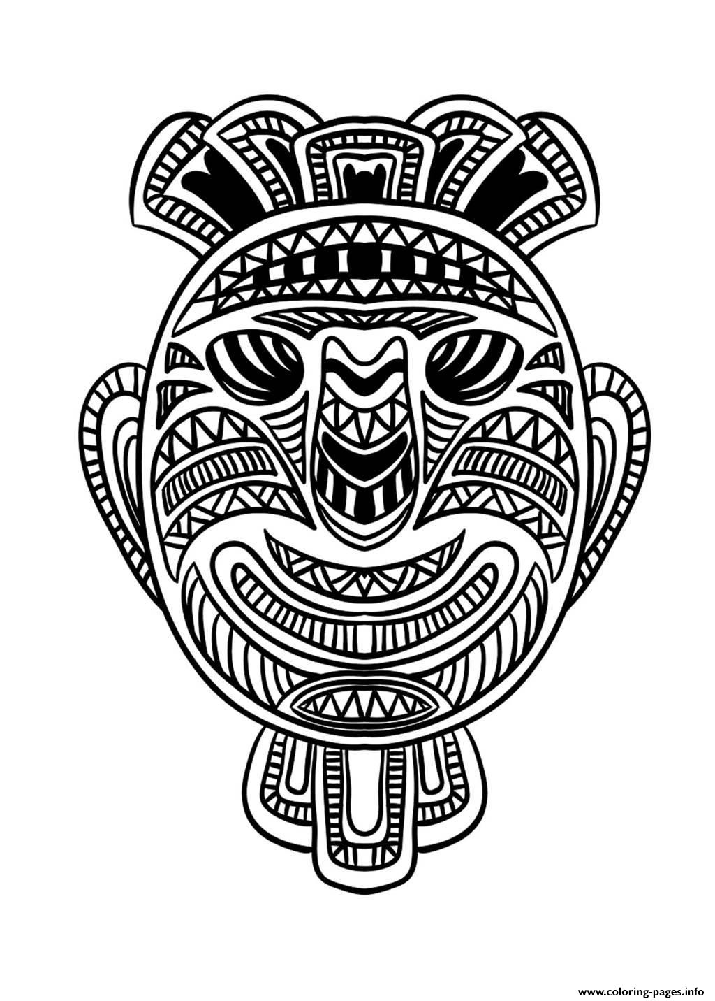 Adult African Mask 1 Coloring Pages Printable
