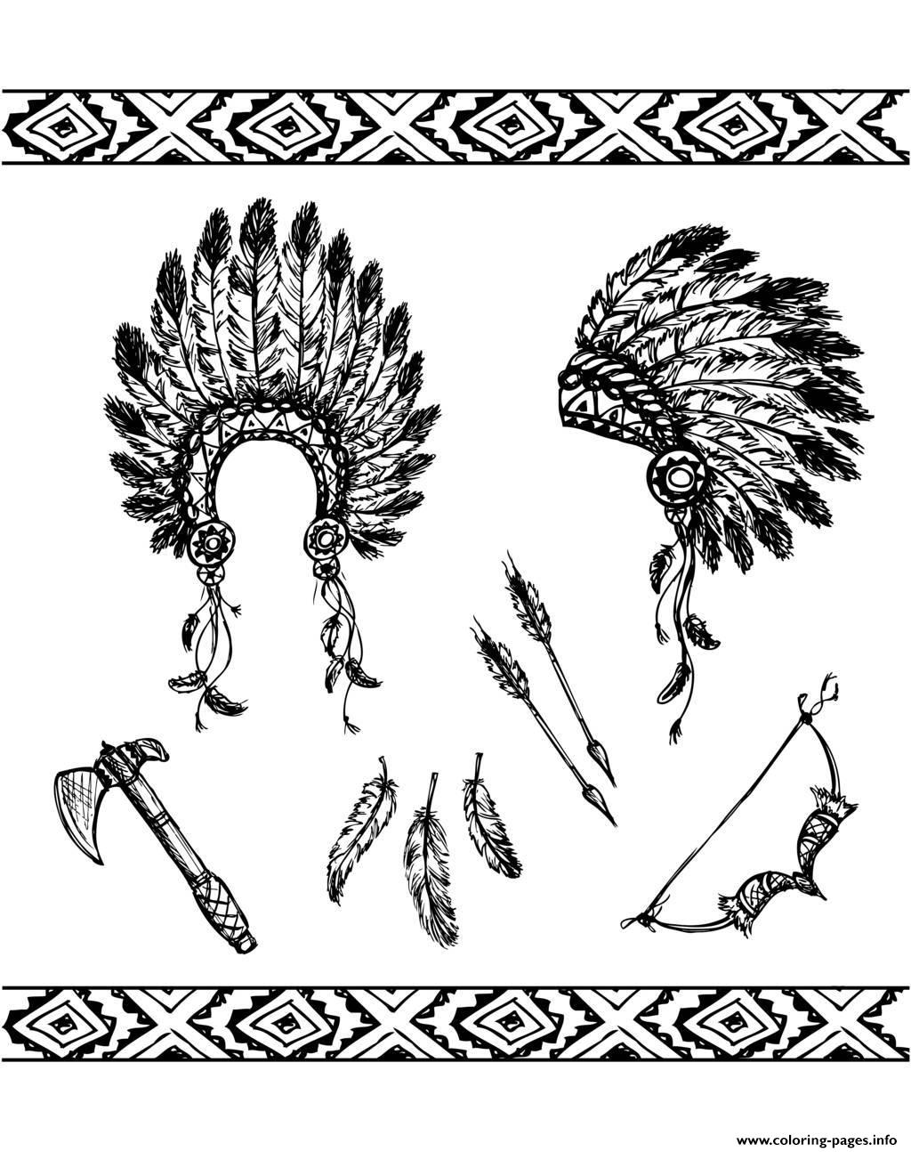 Adult Native American Symbols Coloring Pages Printable