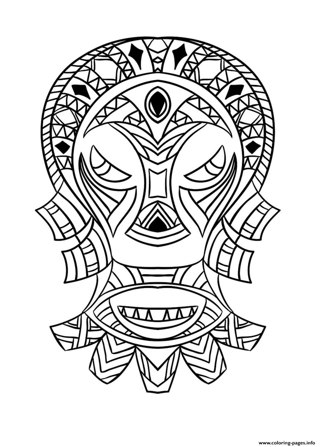 Adult African Mask 4 Coloring Pages Printable