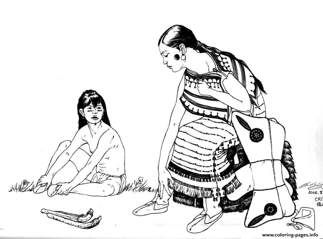 Adult Native Indian And Child Coloring Pages Printable