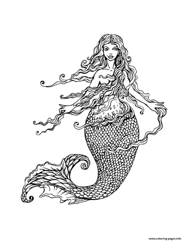 Adult Mermaid With Long Hair By Lian29 Coloring Pages Printable