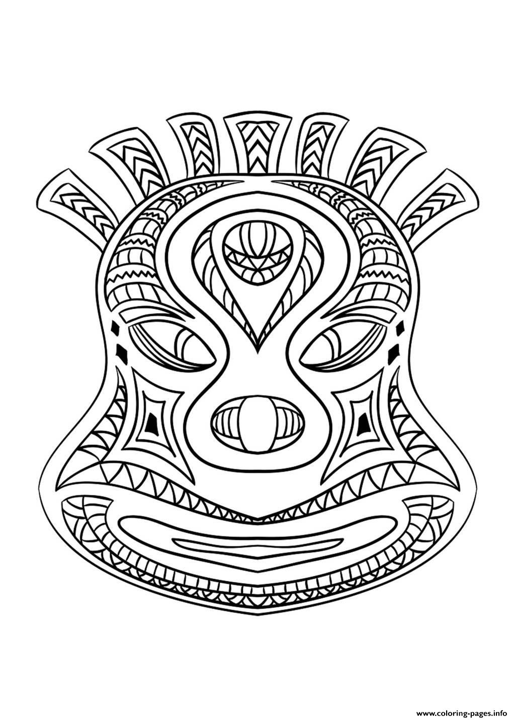 Adult African Mask 2 Coloring Pages Printable