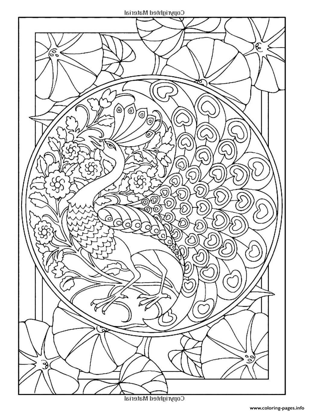 Adult Art Nouveau Style Peacock Coloring Pages Printable
