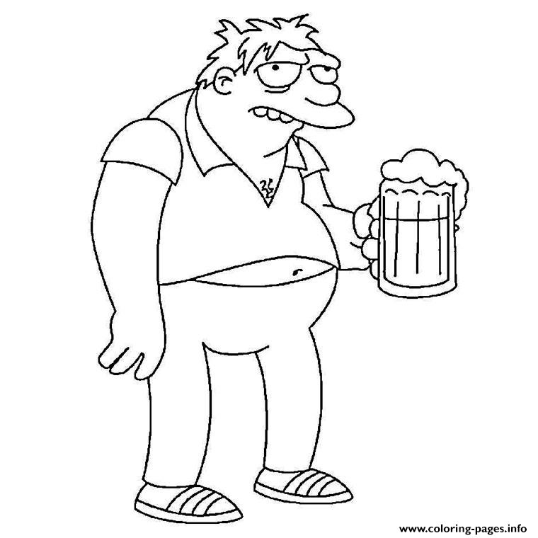 Barney Gumble Simpson Coloring Pages Printable