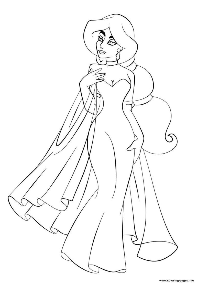 Jasmine In Wedding Dress Disney Princess S6993 Coloring ... | free online printable disney princess coloring pages