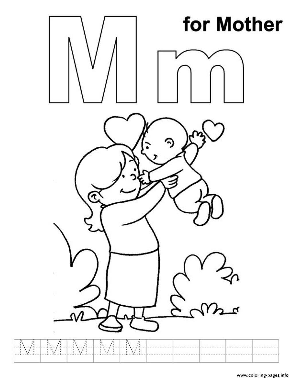 Lovely Mother Free Alphabet Sc83b Coloring Pages Printable