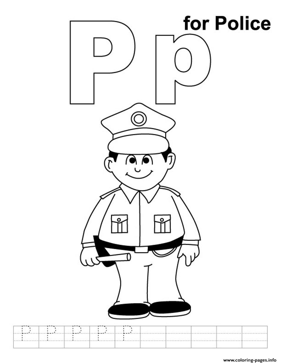Police Free Alphabet S23c3 Coloring Pages Printable