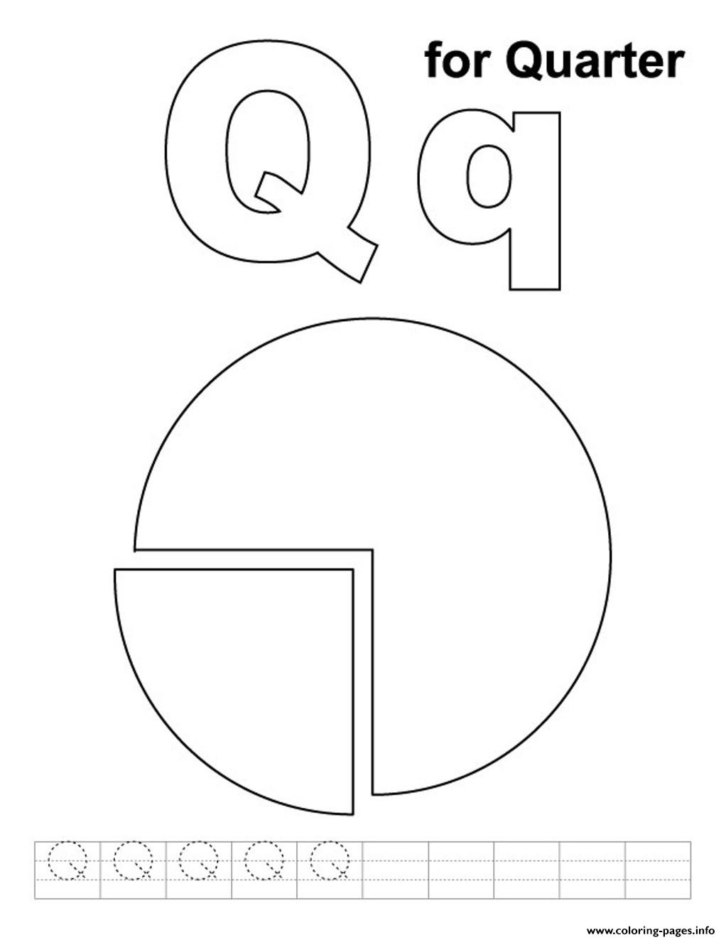 Q For Quarter Alphabet S0eff Coloring Pages Printable