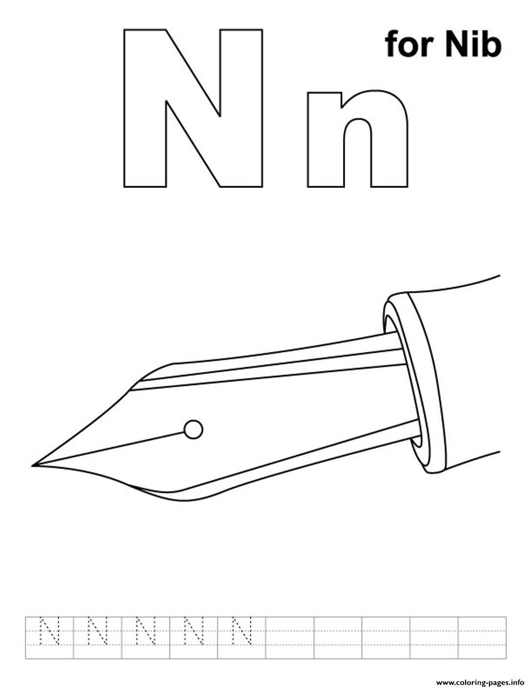 Ni For Nib Free Alphabet S54eb Coloring Pages Printable